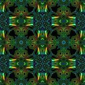 stock photo of viking  - Abstract seamless blue green metallic viking like pattern - JPG