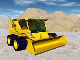 stock photo of skid-steer  - Computer generated 3D illustration with a Skid - JPG