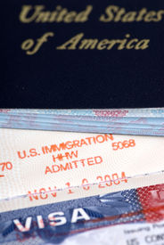 stock photo of passport template  - the stamp of approval for admission to the united states - JPG