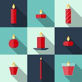 Постер, плакат: Flat Icons Christmas Candles