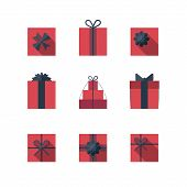 Постер, плакат: Flat Gift Box Icon Set