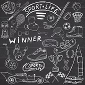 Постер, плакат: Sport Life Sketch Doodles Elements Hand Drawn Set With Baseball Bat Glove Bowling Hockey Tennis