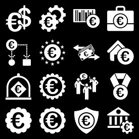 picture of passport template  - Euro banking business and service tools icons - JPG