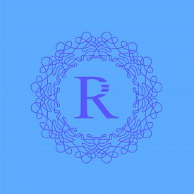 picture of monogram  - Simple  Monogram R Design Template on Blue  Background - JPG