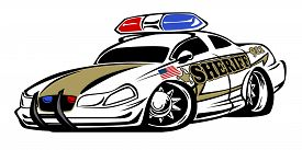 picture of muscle-car  - Aggressive looking Sheriff police car hot rod cartoon - JPG