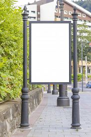 picture of bus-shelter  - Empty billboard at city bus station in city center - JPG