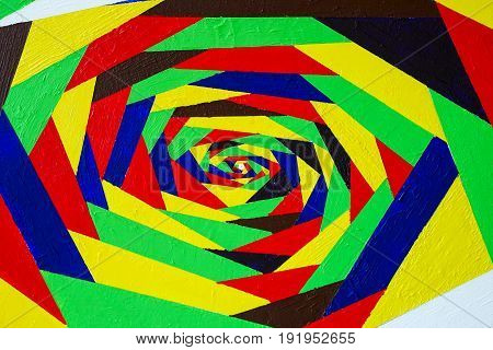 Bright colorful acrylic hand painted graffiti. Abstract rainbow burst swirl twist background with texture. For bright design for all occasions