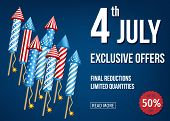 4Th Of  July  Exclusive  Offers  Banner  With  Firework  Rockets. poster