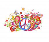 Psychedelic print with hippie peace symbol, mushrooms, colorful abstract flowers and paisley poster