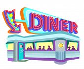 foto of 1950s style  - 1950s style diner with large neon sign - JPG
