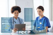 medicine, healthcare, technology and people concept - female doctors with tablet pc computer and cli poster