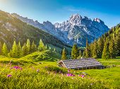 Idyllic Spring Landscape In The Alps With Traditional Mountain Lodge At Sunset poster
