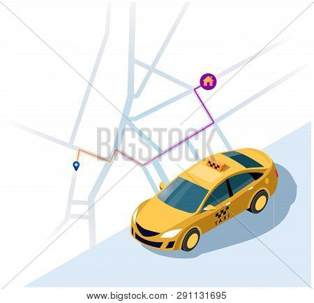 Service Of Taxi Concept Of