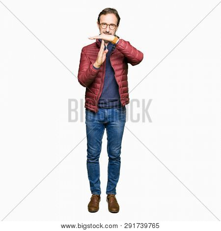 Middle age handsome man wearing