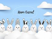 Happy Easter Funny Cute Rabbits With Calligraphic Text And Easter Eggs On Light Blue Background. Eas poster