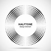 Halftone Music Circle Frame Abstract Dots Logo Emblem Design Element. Half Tone Circular Icon. Disc  poster