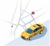 Service Of Taxi. Concept Of A Taxi Car. Vector 3d Isometric Illustration Of Yellow Taxi Car With The poster