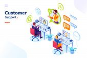 Customer Service People Office Or Isometric Call Center Room. Man Support And Woman Phone Assistant, poster