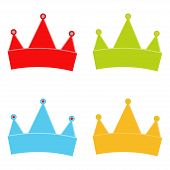 Crowns. Yellow, Green,blue And Red Crown. Set Of Multicolored Crown. Crown. White Background. Vector poster