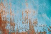 Rust On Metallic Surface. Iron Texture. Partly Rusty Background. Rough Oxide Plate Close-up. Hard De poster