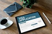 Online Visa Application Form On Screen. Country Visit Permit. poster