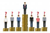 Gap Between Rich And Poor Work Finance Concept With Coins Vector Illustration Eps10 poster