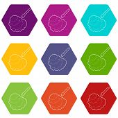 Disinfection Icons 9 Set Coloful Isolated On White For Web poster