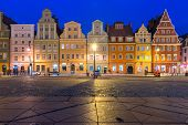 Colorful Tenements On Market Square During Morning Blue Hour In The Old Town Of Wroclaw, Poland poster