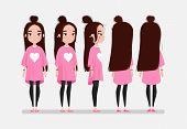 Beautiful Young Girl Character Turnaround. Girl With Long Dark Hair In Pink T-shirt. Animation Chara poster