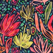 Vector Seamless Tropical Pattern With Bright Minimalistic Flowers On Dark Background, Vivid Colors F poster
