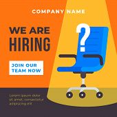We Are Hiring Poster Background. Office Chair With Spot Light Illustration And Question Mark. Busine poster