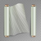 Roll Of Wrapping Stretch Film . Opened And Closed Polymer Packaging. Cellophane, Plastic Wrap. Isola poster