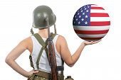 Pretty Young Woman In Ww2 Uniform Us Showing An  American Flag poster