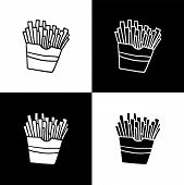 Cute Cartoon Hand Drawn French Fries Illustration Set For Web Sites And Apps. Sweet Vector Black And poster