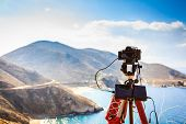 Professional Camera Taking Picture Film Video Of Seascape With Mountains. Greece Peloponnese Mani Pe poster