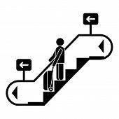 Man Bag Travel Escalator Down Icon. Simple Illustration Of Man Bag Travel Escalator Down Icon For We poster