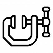 Metal Anvil Clamp Icon. Outline Metal Anvil Clamp Vector Icon For Web Design Isolated On White Backg poster
