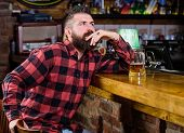 Hipster Relaxing At Bar With Beer. Order Alcohol Drink. Bar Is Relaxing Place Have Drink And Relax.  poster