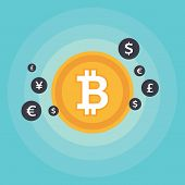 Bit-coin Symbol And Sign Of Other Currencies poster