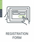 Registration Form Icon With Outline Style And Editable Stroke poster