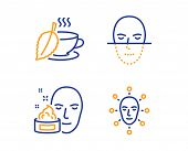 Face Cream, Mint Tea And Face Recognition Icons Simple Set. Gel, Mentha Beverage, Faces Biometrics.  poster