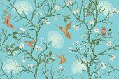 Vector Colorful Pattern With Birds And Flowers. Hummingbirds And Flowers, Retro Style, Floral Backdr poster