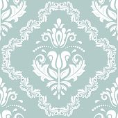 Classic Seamless Pattern. Damask Orient Ornament. Classic Vintage Light Blue And White Background poster
