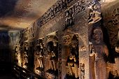 Ajanta Caves, India. The Ajanta Caves In Maharashtra State Are Buddhist Caves Monuments poster
