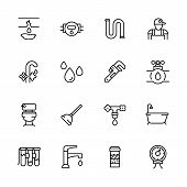 Icon Set Repair And Plumbing. Contains Such Symbols Pipes, Piping, Faucet, Toilet, Bathtub In Bath R poster