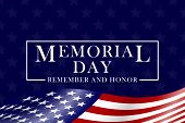 Memorial Day Background With Usa Flag And Lettering. Template For Memorial Day Design. Vector Eps 10 poster