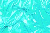 Blue Polyethylene Texture. Background Exhaust Cellophane Package. poster