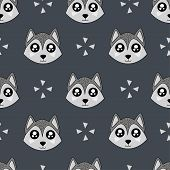 Cute Kids Wolf Pattern For Girls And Boys. Colorful Wolf On The Abstract Background Create A Fun Car poster