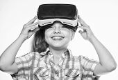 Virtual Reality Concept. Virtual Education For School Pupil. Happy Kid Use Modern Technology Virtual poster
