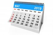 2019 Year Calendar. May Calendar On A White Background. 3d Rendering poster